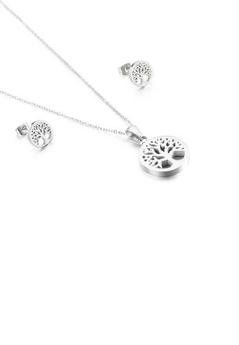 Glamorousky 銀色 時尚優雅幾何圓形生命之樹316L鋼項鏈和耳釘套裝 8E4DDACB20EC8DGS_1