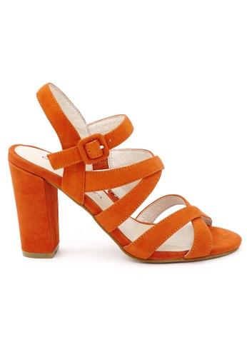 OSCAR & MAYA orange JOSIE Criss-cross Straps 9cm High Heels OS304SH18GKZHK_1
