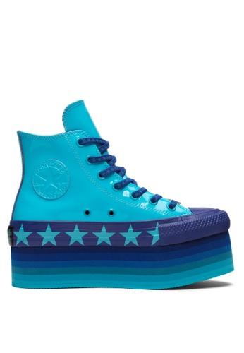 4f103411b2c Converse blue Converse X Miley Cyrus Chuck Taylor All Star Platform Stars  Inspired Hi Sneakers FD973SH2B68DE5GS 1