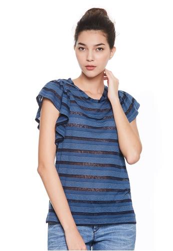 Sisley blue Striped T-shirt. B445AAA4617BBAGS_1