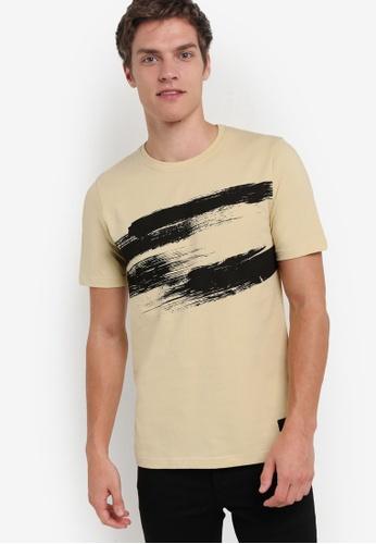 Flesh IMP brown Brush Strokes Acrylic Print T-Shirt FL064AA77SAKMY_1