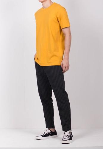 Hi Style yellow Plain Short Sleeve Tee 69ACDAABD0D3E2GS_1