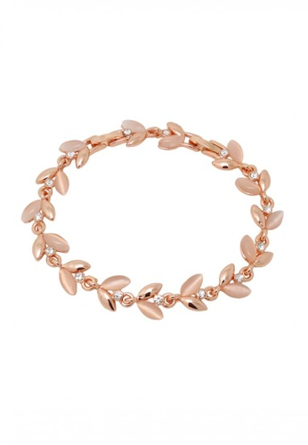 Jaysa Collection gold Rose Gold Cat Eye Jewel Leaf Bracelet JA875AC0FKLTSG_1