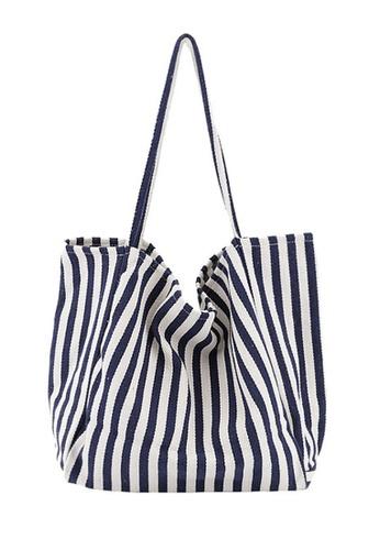 Twenty Eight Shoes blue VANSA Narrow Stripe Canvas Tote Bag VBW-Tb1089N 5BB2BACDAA7625GS_1