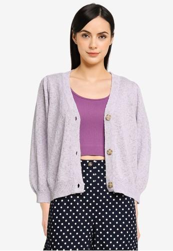 Vero Moda purple Annie 3/4 V-neck Cardigan FACBBAA9F08ADDGS_1