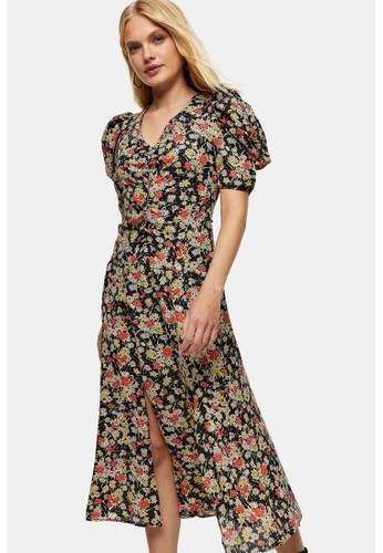 TOPSHOP multi Grunge Floral Print Midi Dress F5901AA39C7A59GS_1