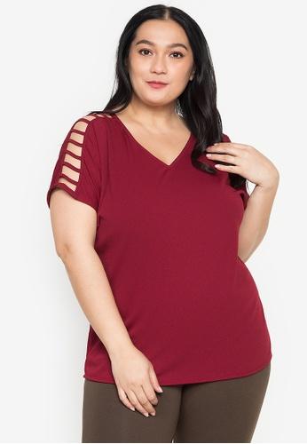 Get Laud Plus red Wanda Plus Size Top 4DC9BAA794E2CBGS_1