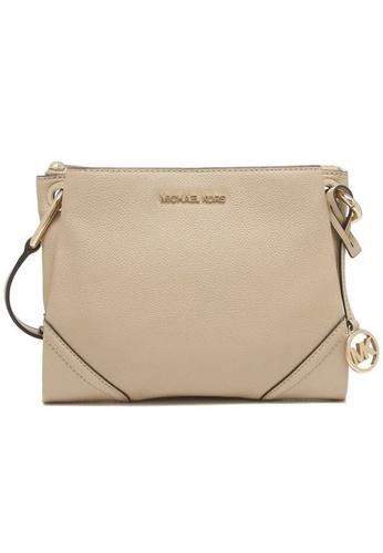 MICHAEL KORS beige Michael Kors Nicole Large Logo Crossbody Bag In Pebbled Leather 35H9GNIC9L Bisque 9375EAC836942FGS_1
