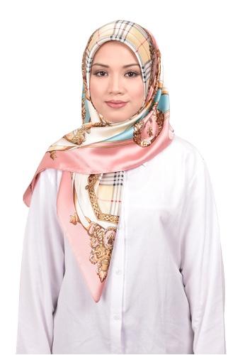FATIMÉ multi Satin Square Hijab Burberry (Pink) F7D0AAA82A388FGS_1