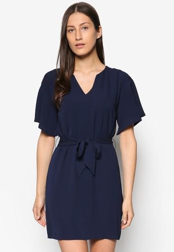 Collection 繫帶直筒連身裙、 服飾、 洋裝ZALORACollection繫帶直筒連身裙最新折價