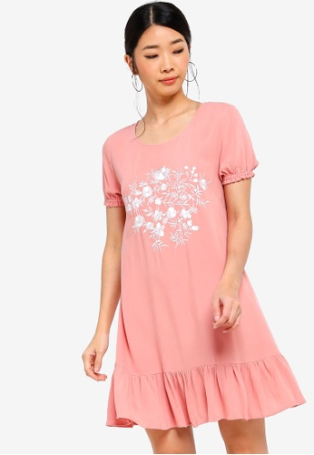 Something Borrowed pink Embroidered Flutter Hem Dress D68F3AAB26538AGS_1