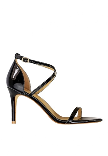 Twenty Eight Shoes 黑色 光亮搭帶高跟涼鞋 VS126A7 B9AA4SH51BB04EGS_1