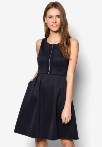 拉鍊zalora 手錶 評價傘擺連身裙, 服飾, 洋裝