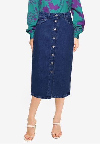 French Connection blue Denim Button Front Pencil Skirt A66ABAA58BEA8BGS_1