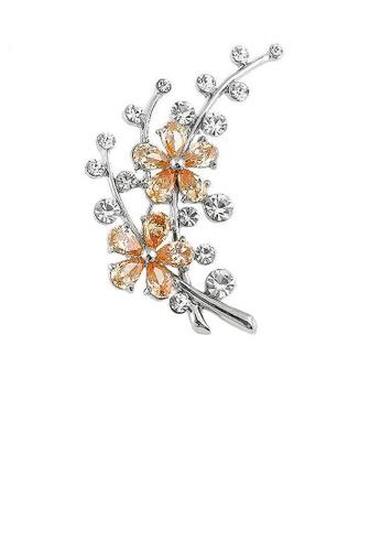 Glamorousky orange Dazzling Flower Brooch with Silver Austrian Element Crystal and Orange CZ 345C5ACB22AB43GS_1