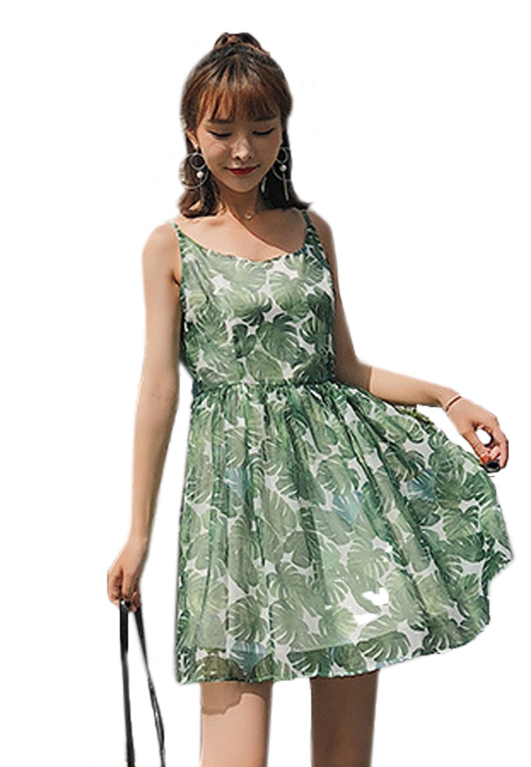 Piece Green Green Floral One A061222 Dress Sunnydaysweety 2018 New 6IqZw6O