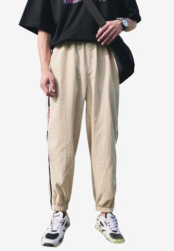 hk-ehunter 米褐色 男士側條紋運動九分褲子 E57BDAA95A385EGS_1