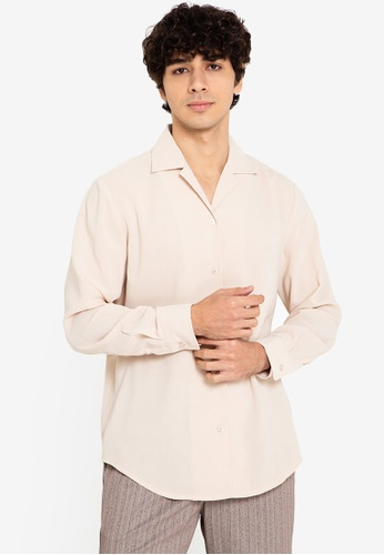 ZALORA BASICS beige Revere Collar Long Sleeve Shirt 89701AA7C6F721GS_1