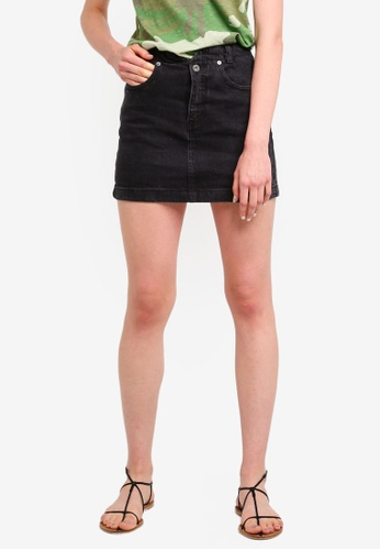 Free People black She'S All That Denim Mini Skirt 0665FAA8680062GS_1