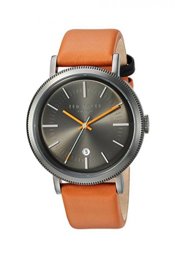 TED BAKER black and brown Ted Baker Men's 10031504 Connor Grey Dial BrownLeather Strap  Analog Watch C293EAC43C7585GS_1