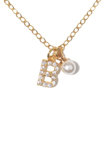 PSYNDROME gold Personalised Initial Diamond Letter Alphabet with Pearl Necklace - B F4DEAACA131FF7GS_1
