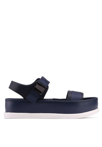 Something Borrowed navy Velcro Strap Sandals 435EASH59C2D94GS_1