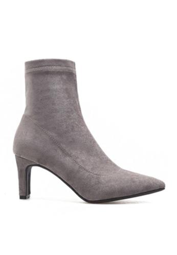 Twenty Eight Shoes 灰色 彈力仿猄皮貼腳踝靴18-8122 CD106SHEE1D611GS_1