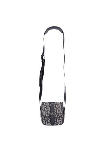 DIOR black Pre-Loved Christian Dior Canvas Trotter Monogram Mini Messenger Crossbody bag B9817AC35FDC9CGS_1