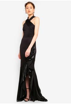 bad94e078c7f Lipsy black Black Halter Ruffle Maxi Dress 278FAAA5110D8BGS 1