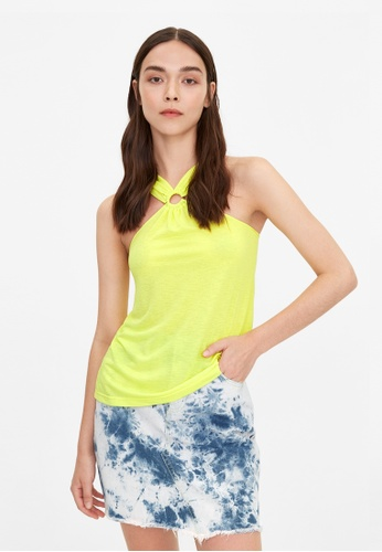 Pomelo yellow Keyhole Halter Bow Cami - Yellow 328A1AAB525496GS_1