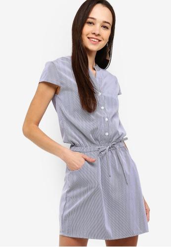 Something Borrowed navy Waist Tie Button Down Shirt Dress 33453AADEA64BCGS_1