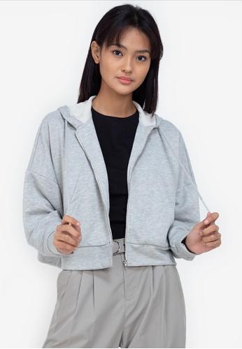 ZALORA BASICS grey Oversized Hoodie 15FB0AA1B50077GS_1