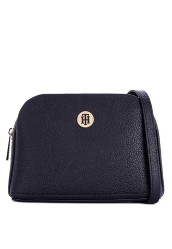 f78f4c26a3 Tommy Hilfiger black Th Core Crossover Solid Tone Faux Leather Sling Bag  With Monogram FF4BCAC680D85BGS_1