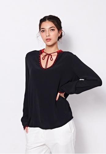 Sisley black Embroidery Blouse A4BF5AAE863FA0GS_1
