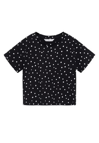 MANGO KIDS black Printed Cotton-Blend T-Shirt 79AB2KA894B6DDGS_1