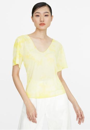 Pomelo yellow V Neck Tie Dye Top - Yellow 5961DAA4D76BA8GS_1