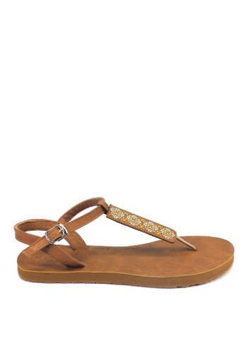 Ripples brown Amaris Slide'N'Style T-Bar Sandals RI425SH41JXMSG_1