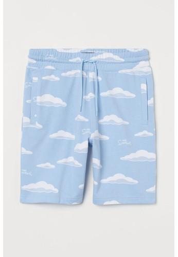 H&M blue Patterned sweatshirt shorts F7368AAB36287BGS_1