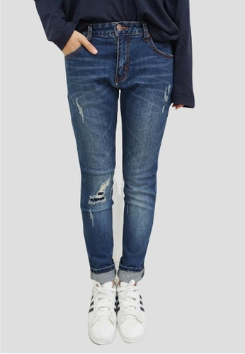 Buy NANA JEAN Knee Ripped Baggy Jeans | ZALORA Singapore