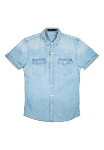 DRUM blue Casual Denim Short Sleeve Shirt 41780AA81A3252GS_1
