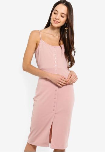 Something Borrowed pink Button Trim Cami Midi Dress 1E06AAA7CF2EB3GS_1