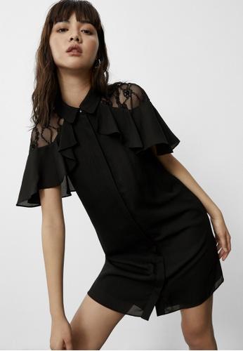 Pomelo black Floral Lace Cape Shoulder Shirt Dress - Black CE33FAA7754BB2GS_1
