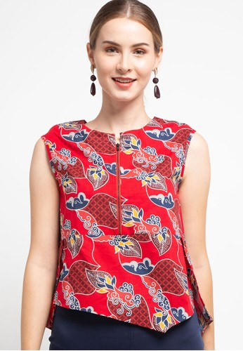 Batik Solo red and multi Blouse Cotton Print F8BB2AAC3B5643GS_1