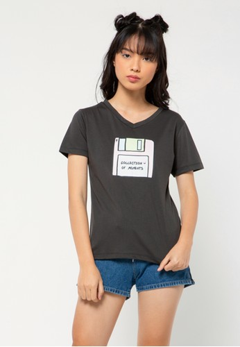 COLORBOX grey Collection of Moments V neck T-shirt BB92CAA013D8B7GS_1