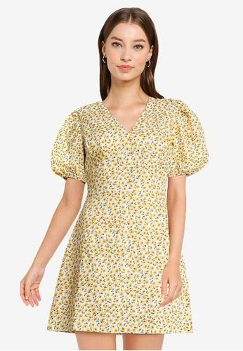 Urban Revivo yellow Print Dress 77978AA36DFF1BGS_1