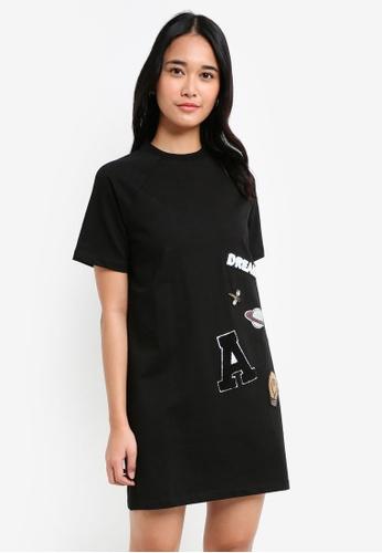 Something Borrowed black Patches Raglan Tee Dress BC055AAF1C3418GS_1