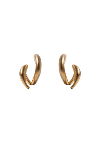 SKEDA gold Wavy Ear Studs 4AA40ACCACC32AGS_1