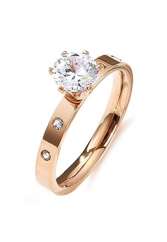 YOUNIQ YOUNIQ One Carot Brilliant Cut Diamante Titanium Band Ring in Rosegold / Silver as ROM Engagement Wedding Party Ring 44280AC8584E05GS_1
