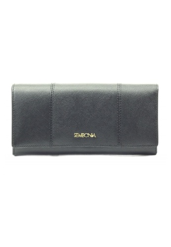 SEMBONIA black SEMBONIA Genuine Leather Tri-Fold Continental Wallet SE598AC0RAIWMY_1