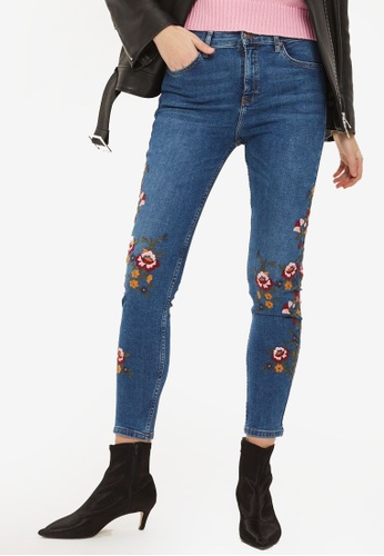TOPSHOP blue Moto Mid Blue Floral Embroidered Jamie Jeans TO412AA0SZ5ZMY_1
